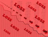 Pérdida con símbolos del valor cotizado — Vector de stock