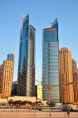 Dubai skyscrapers, summer twins. — Stock Photo