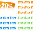 Royalty-Free Stock Vector Image: Percentage discount labels, 3 colour sets, variants
