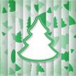 Abstract background with one big green Christmas tree and lot of small trees — Imagen vectorial