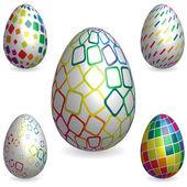Easter rainbow 3D decorative texture eggs — Stock Vector