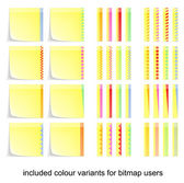 Adhesive postit labels with eight decorating in four colour variants — ストックベクタ