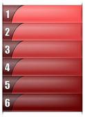 Plantilla vertical de seis opciones en color rojo — Vector de stock