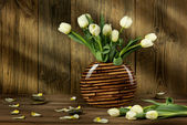 Bouquet of white tulips — Stock Photo