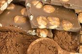 Chocolate bars with hazelnuts — Stock Photo