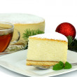 Cheesecake with cup of tea — Stock Photo