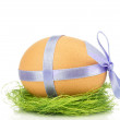 Easter eggs with a ribbons — Stock Photo