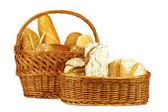 Bread in wicker basket — Stock Photo