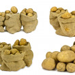 Stock Photo: Potatoes in burlap bag