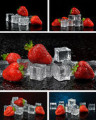 Fresh strawberries with ice cubes — Stock Photo