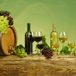 Red and white wine bottle with  grapes  — Foto de Stock