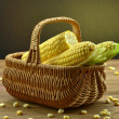 Corn on the wooden table — Foto de Stock