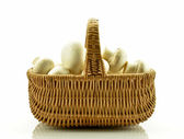 Mushrooms in basket on white background — Stock Photo