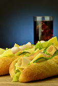 Sandwich with cola — Stock Photo