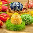 Easter eggs with tulip flowers — Stock Photo