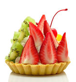 Cake with fruit and cream — Stock Photo