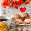 Tea and cookies with love — Stock Photo