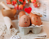 Loves eggs — Stock Photo