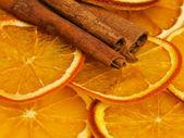 Dried orange and cinnamon — Stock Photo