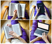 Girl with Bible and laptop — Stock Photo