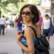 Women traveller with a backpack — Stock Photo #30444697
