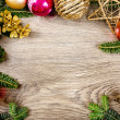 Christmas wooden frame — Stock Photo