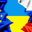 Flags of Ukraine, the European Union and Russia. Conflict. — Stock Photo