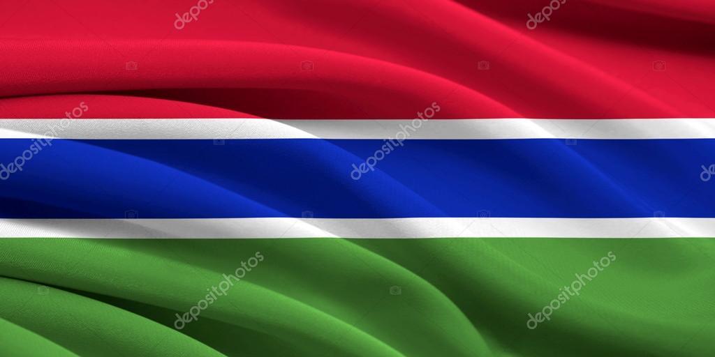 冈比亚在风中挥舞的旗帜– 图库图片