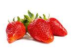 Aardbeien met bladeren — Stockfoto