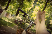 Legs on a bicycle — Foto Stock