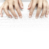 Fingers on the laptop keyboard — Stock Photo