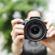 Young smiling girl making photo — Stock Photo #49535659