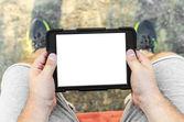Uomo con tablet pc — Foto Stock