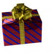 Red gift box with gold bow isolated — Stock Photo