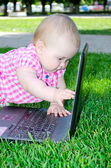 Baby with laptop — Foto de Stock