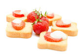 Toast with strawberries — Stock Photo