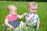 Two babies in the grass — Stock Photo