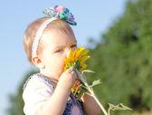 Baby girl and sunflower — Stock Photo
