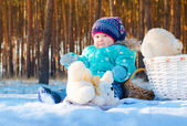 Baby in the snow — Stock Photo