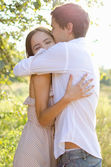 Gentle embrace of lovers — Stock Photo
