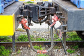 Iki tren araba arasında kaplin — Stok fotoğraf