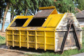 Yellow big garbage containers — Stock Photo