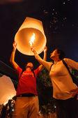 Uruchomienie latarnia niebo turystyczne — Zdjęcie stockowe