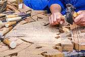 Craftsman carving — Stock Photo