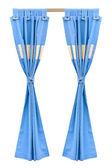 蓝色的窗帘 — 图库照片