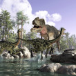 Stock Photo: Photorealistic 3 D scene of Tyrannosaurus Rex, hunting two Gal