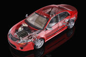 Generic sedan car detailed cutaway representation, with ghost ef — Photo