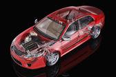 Generic sedan car detailed cutaway representation, with ghost ef — Stock Photo