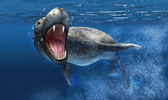 Leopard seal under water with close up on head and open mouth. — Stock Photo