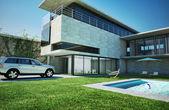 Modern luxury villa with swimming pool. — Stock Photo